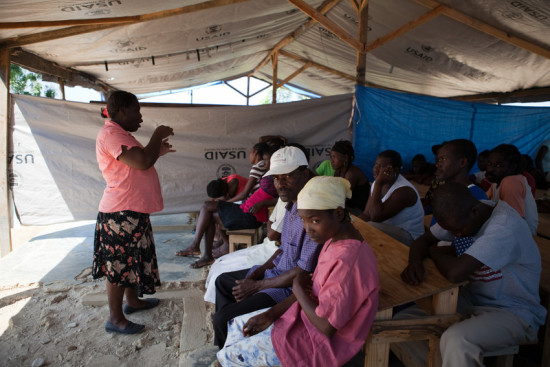 Cholera prevention training near Leogane, Haiti