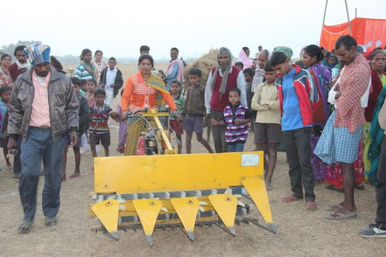 Woman farmer demonstrates how to operate a power harvester at Women Farmer's Convention. Pictured: Woman demonstrates how to operate a power harvester. On the arid plains of Losinga in Indiaâs northeastern state of Bihar, over 500 women from surrounding villages came on foot and motorbike to participate in the Women Farmerâs Convention, hosted by Lutheran World Relief and its local partner Action for Social Advancement (ASA) on January 7, 2016. During the convention, women and men performed songs and plays about gender equality, farmersâ rights, and the importance of working together. Several women also demonstrated to the crowds some aspects of the LWR training they received on improved farming practices and technologies. Nearly all of the women participants belonged to their villageâs Self Help Group (SHG).