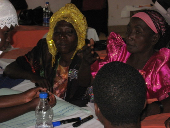 Women leaders of LWR partner organization NAMUBUKA participate in a training workshop in Iganga discuss the constraints men and women maize farmers face in Uganda.