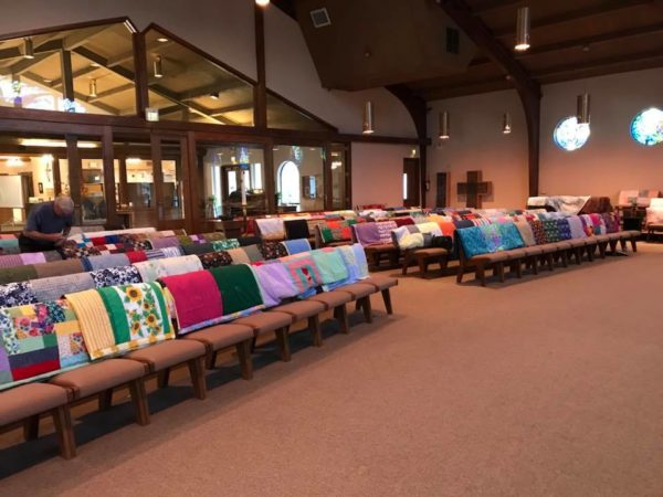 Side view of quilts in sanctuary
