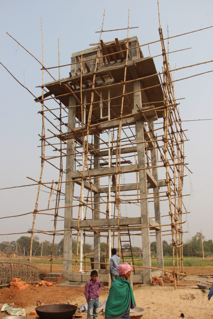 Water tower construction in Bihar, India