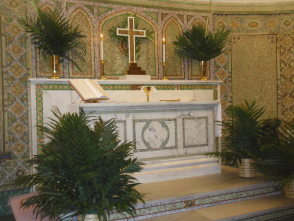 Salem Lutheran Church, Catonsville, MD decorated with eco-palms for Palm Sunday.