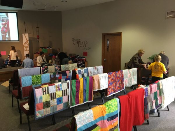 View of quilts on chairs