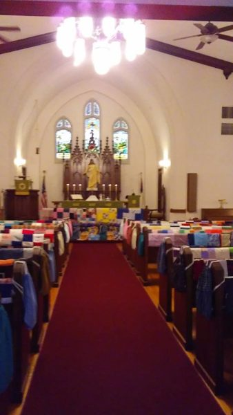 View down nave of quilts at St. Paul Lutheran Church