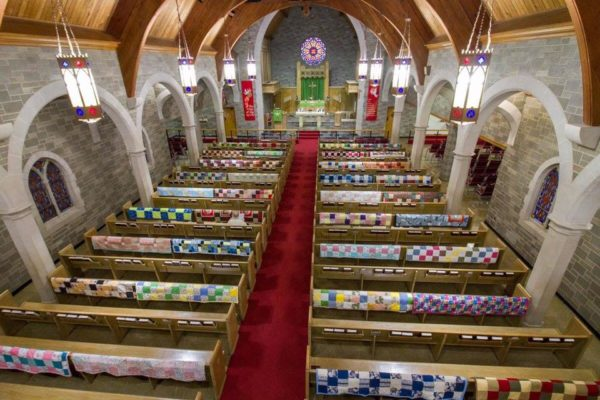 Overhead view of quilts and sanctuary of Trinity Lutheran Church