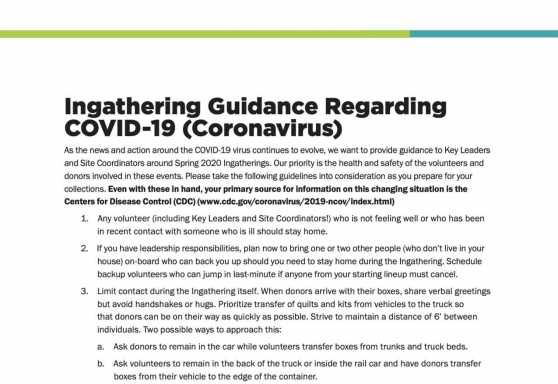 Ingathering Guidance Regarding COVID-19 (Coronavirus)