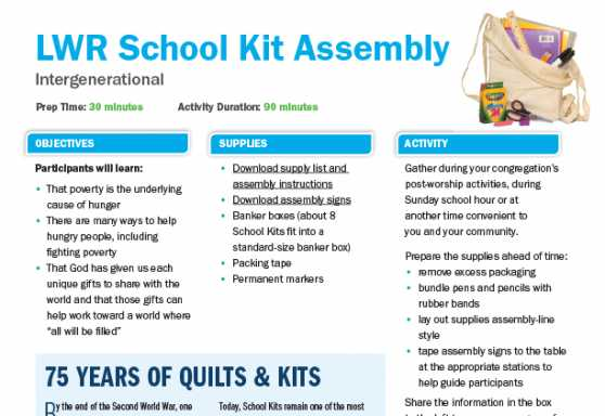 LWR School Kit Assembly