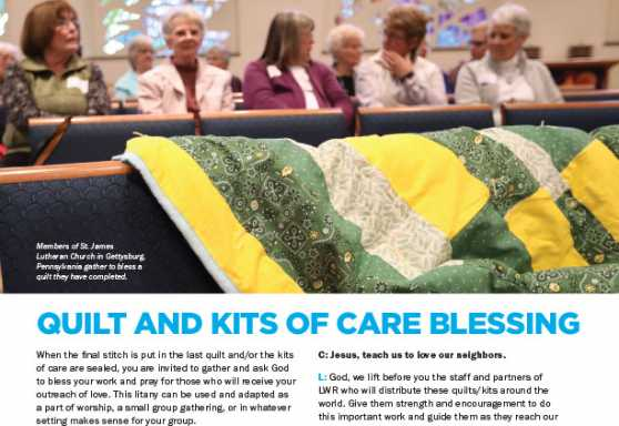 LWR Sunday Quilt and Kits of Care Blessing