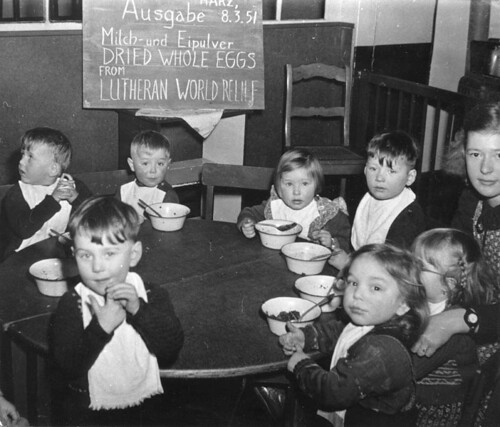 A program feeding children in Germany after World War II, sponsored by LWR. Photo courtesy of the ELCA Archives