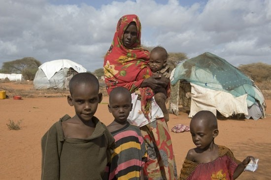 A family in the refugee camp in Dadaab, Kenya. (Photo by Jonathan Ernst)