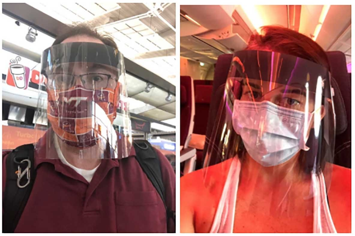 Matt Hackworth and Carrie Taneyhill donned face masks and face shields for their trip to Beirut.