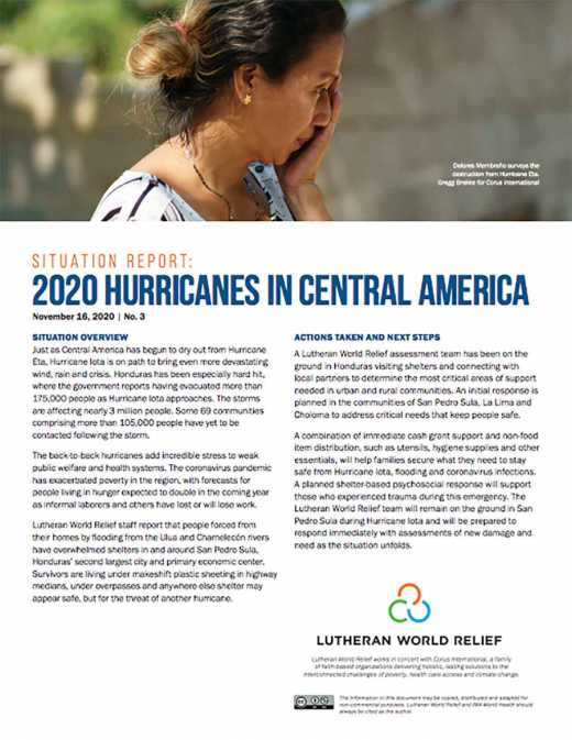 2020 Hurricanes in Central America Situation Report No. 3