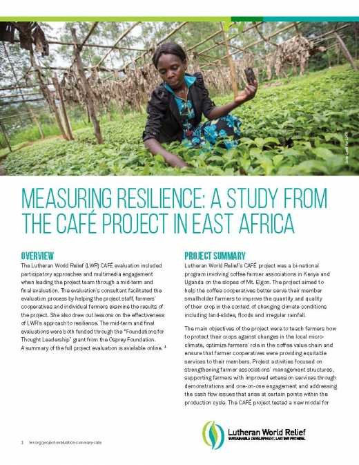 Measuring Resilience: A Study from the CAFÉ Project in East Africa