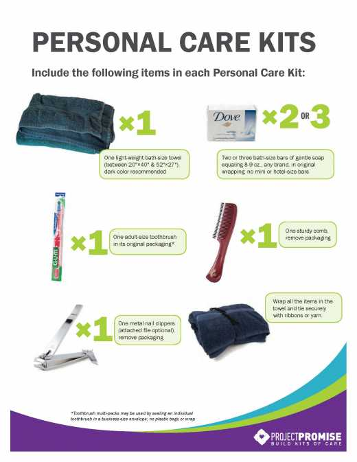 Personal Care Kit Contents List