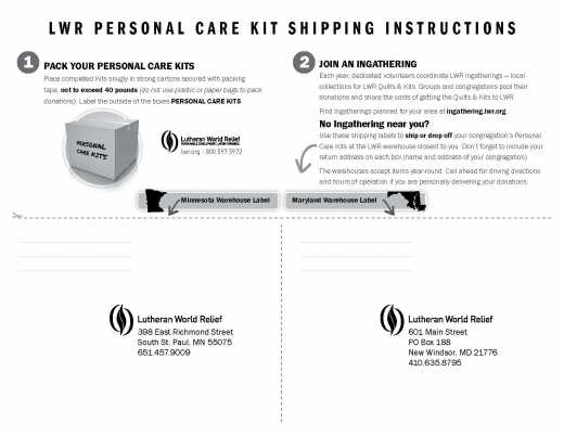 Personal Care Kit Shipping Labels