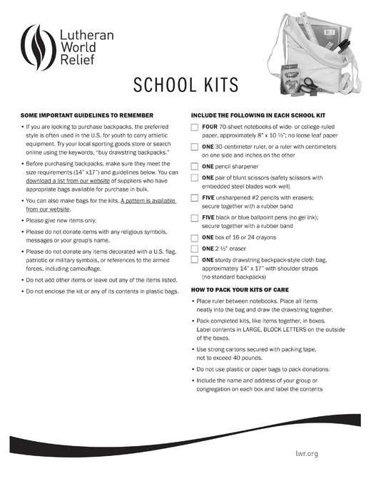 School Kit Assembly Instructions